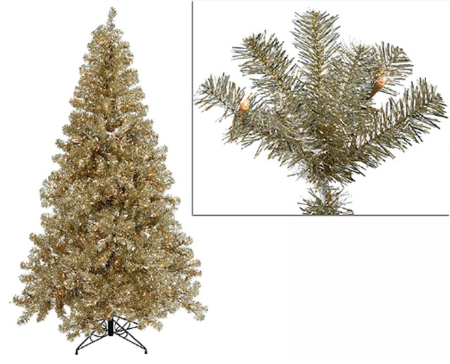 7' Pre-Lit Champagne Artificial Tinsel Christmas Tree
