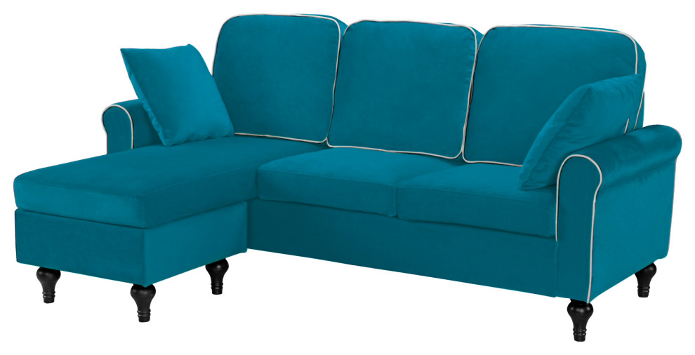 Traditional Small Space Velvet Sectional Sofa With Reversible Chaise - Traditional - Sectional Sofas - By SofaMania
