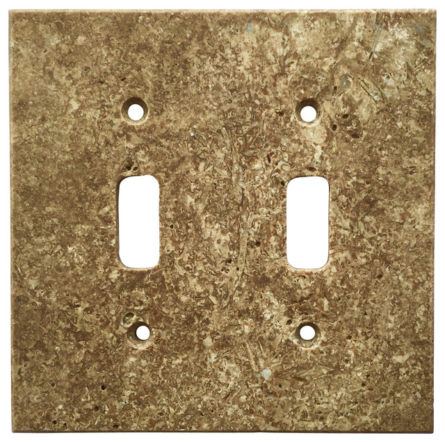 Dark Walnut Travertine Switch Plate Cover Double Toggle, ...