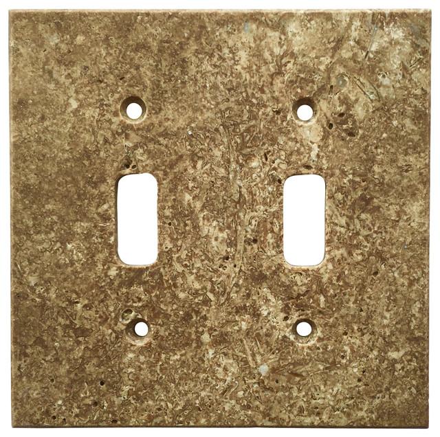 Dark Walnut Travertine Switch Plate Cover Double Toggle, ...