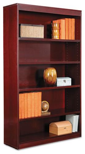 Alera Square Corner Wood Veneer Bookcase, 5-Shelf, Mahogany.