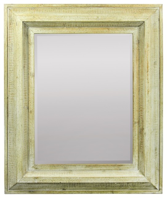 Rustically Naive Mirror In Wooden Frame, Brown.