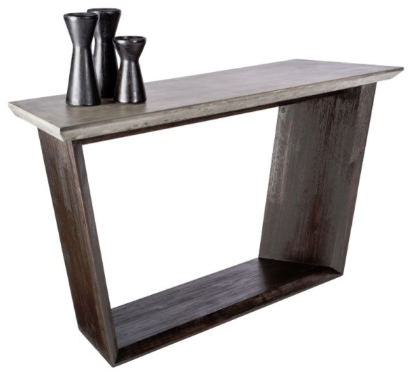 Console Table With Sealed Concrete And Solid