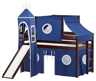 Jackpot Castle Low Loft Bed, Cherry With Slide, Blue, White Tent and Tower