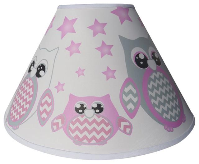 Pink Owl Lamp Shade Children S Nursery Room Decor Contemporary Shades By Presto Chango Inc