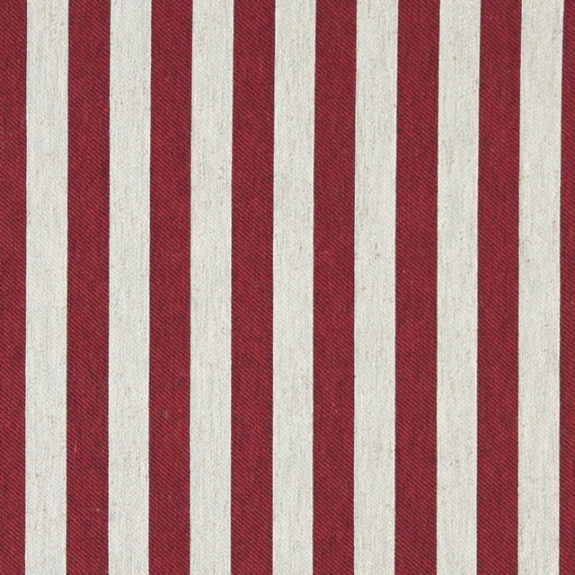 Red and Off White Striped Linen Look Upholstery Fabric By The Yard - Contemporary - Upholstery ...