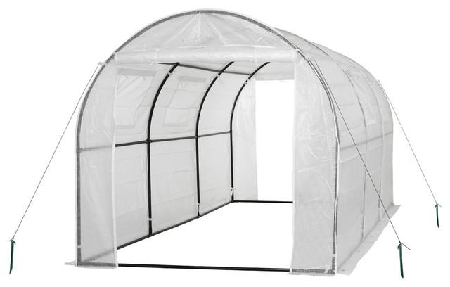 Ogrow 2 Door Walk-In Tunnel Greenhouse, Ventilation Windows, Steel Frame-White.