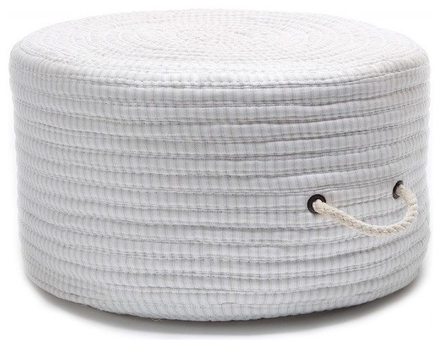Braided Ticking Fabric Stripe Pouf Round Gray Ottoman Contemporary Floor Pillows