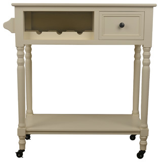 Rolling Bar Cart With Wine Rack, White