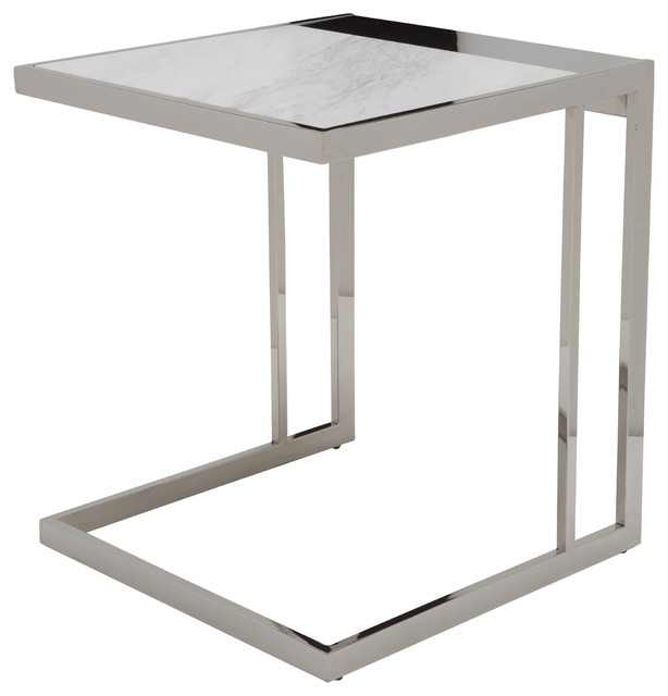 Ethan Marble Top Side Table, Polished Stainless Contemporary Side Tables  And