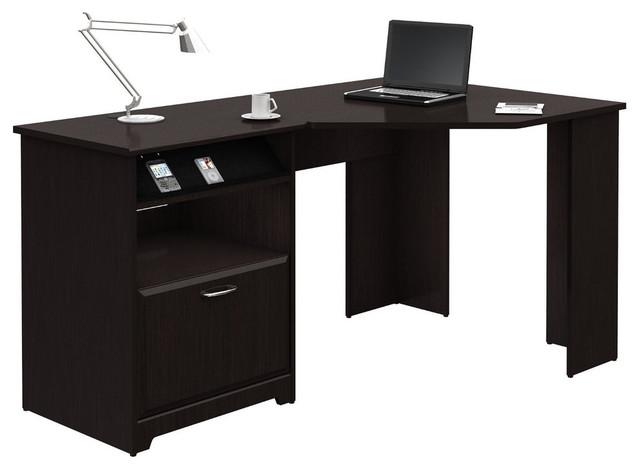L-Shaped Corner Computer Desk With File Drawer, Espresso Wood Finish.