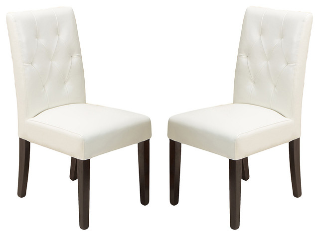 Waldon Leather Dining Chairs, Ivory, Set Of 2.