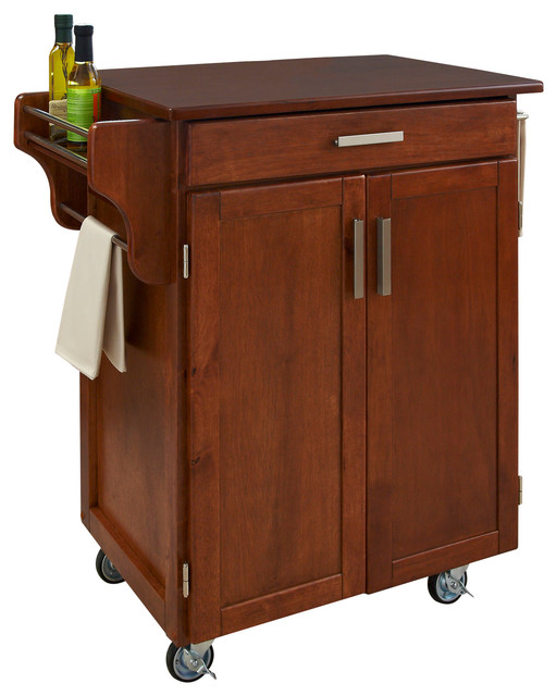 Warm Oak Cuisine Cart With Cherry Top Transitional Kitchen Islands And K