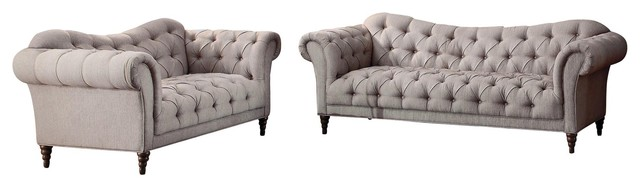 Superb 2 Piece Stella French Button Tufted Set Sofa And Love Seat Neutral Beige Fabric Evergreenethics Interior Chair Design Evergreenethicsorg