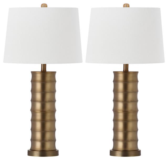 Safavieh Linus Brass Column Table Lamps, 28.5 High, Set of 2 by Safavieh