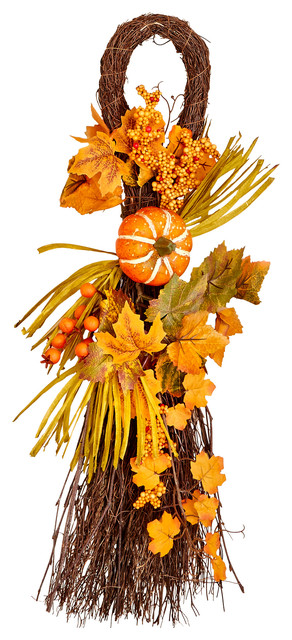 "26"" Fall Twig Teardrop With Long Grasses, Berries, Pumpkins And Leaves."