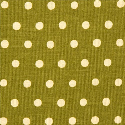 olive green echino canvas fabric with beige polka dots