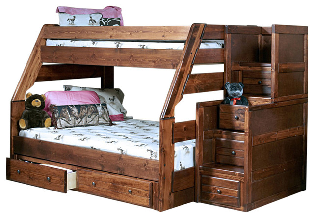 Chelsea Home Twin Over Full Bunk Bed With Stairway Chest With Storage.