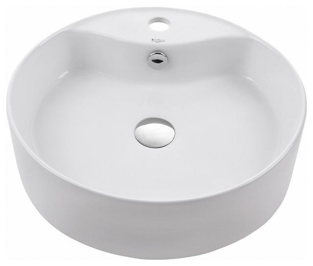 Kraus Round Ceramic Vessel Bathroom Sink With Overflow, White.