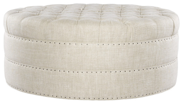 Mad Linen Upholstered Round Tufted, Round Tufted Ottomans