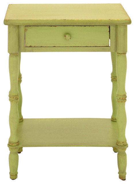 """Urban Designs Laurie 31"""" Distressed Wooden Nightstand With Drawer, Green."""