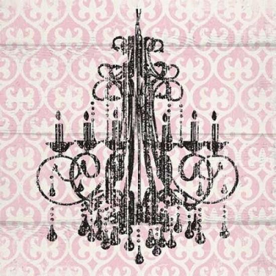 Pink Pattern Chandelier I Print, Pink Chandelier Wall Art