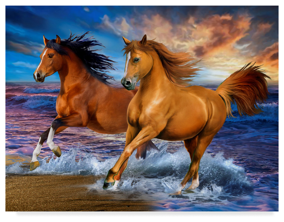 Two Brown Horses By Howard Robinson Canvas Art Contemporary Prints And Posters By Trademark Global Houzz