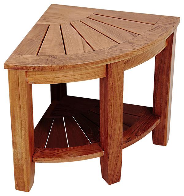 2 Tier Teak Corner Shower Bench With Storage Shelf 15 5 Traditional Shower Benches Seats