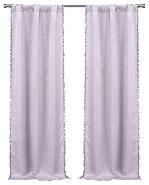 Tucker Lala+Bash Blackout Pom Pom, Lavender Modern Curtains