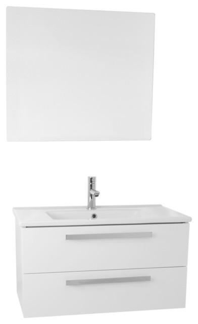 """33"""" Bathroom Vanity Set, Glossy White"""