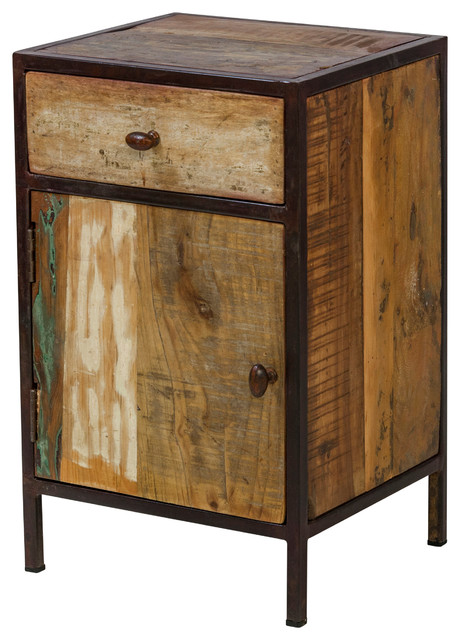 reclaimed mango wood nightstand with metal frame