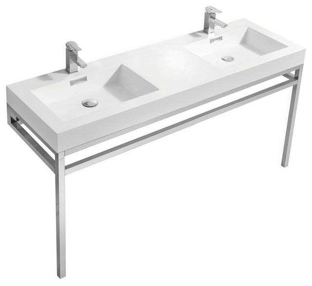 "Haus 60"" Stainless Steel Double Sink Console With White Acrylic Sink, Chrome."