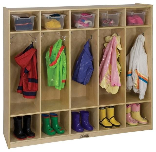Birch 5 Section Straight Coat Locker Contemporary Kids Furniture By Ecr4kids