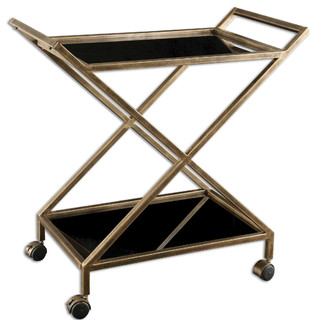 Uttermost Zafina Gold Serving Bar Cart