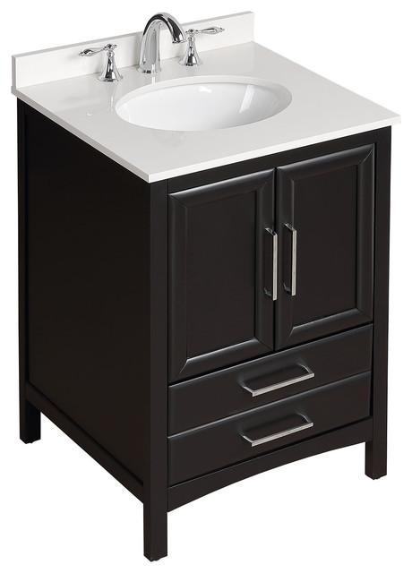 "Vanity Art Single Bathroom Vanity Set, Espresso, 24"""
