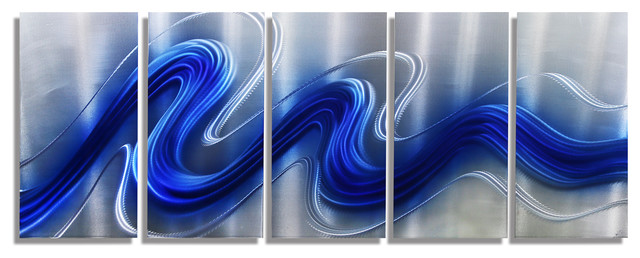 Electric blue jewel tone blue and silver hand painted abstract metal wall art
