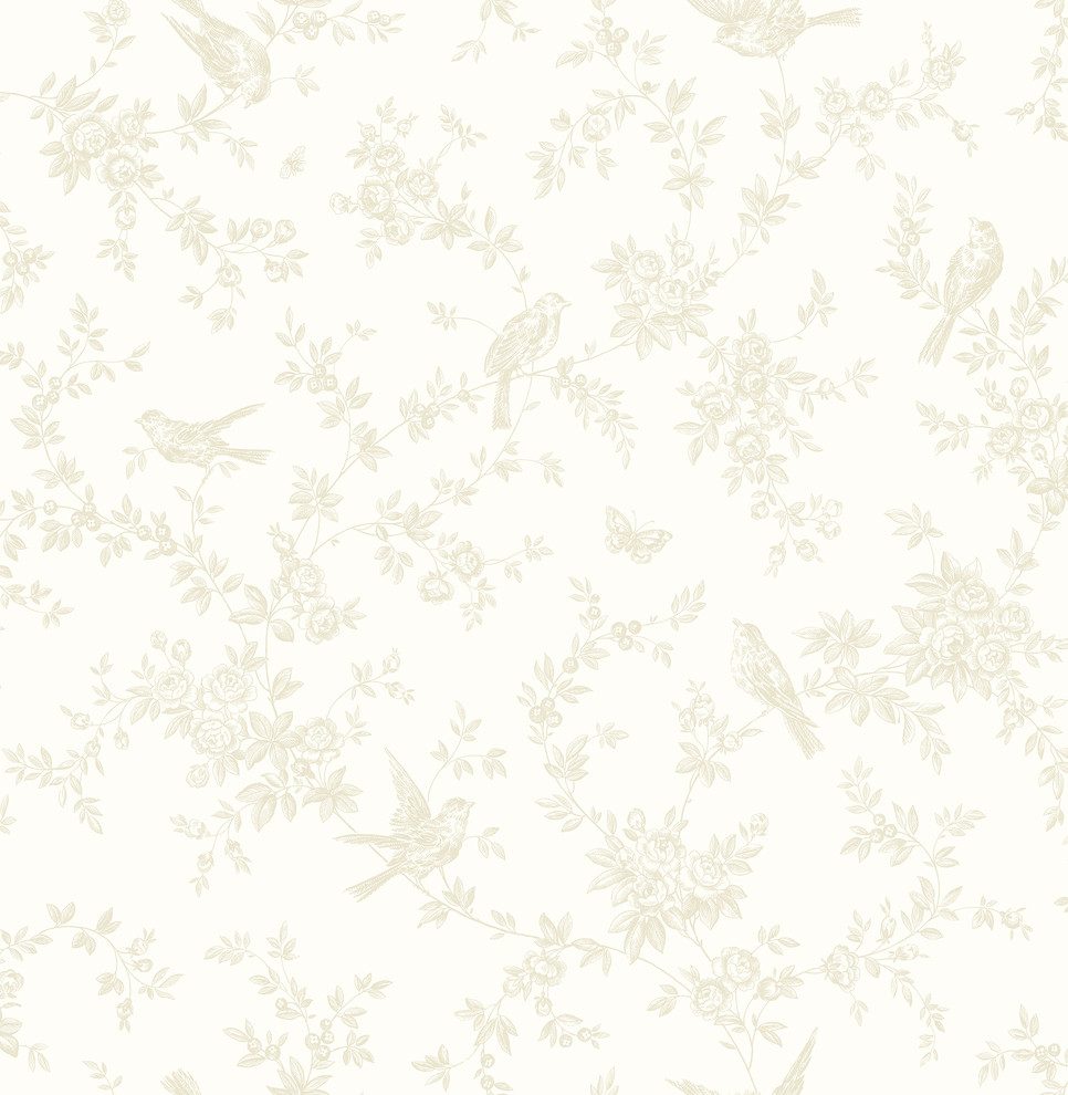 Mafra Light Yellow Floral Trails Wallpaper Contemporary