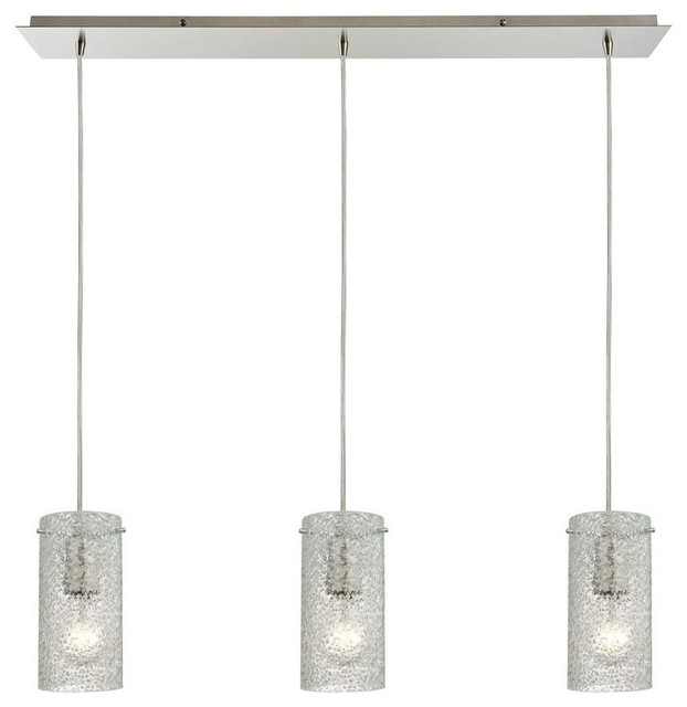 Ice Fragments 3-Light Linear Pendant, Satin Nickel.