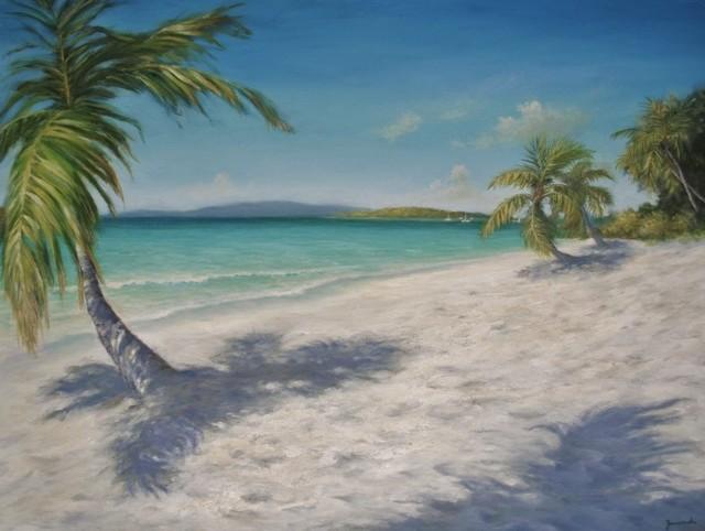 Original Caribbean Painting Solomon Beach St John