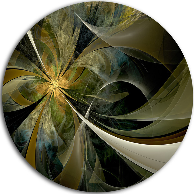 "Gold And Silver Fractal Flower, Floral Round Wall Art, 23""."
