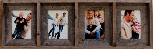collage picture frame with 4 openings barn wood 5x7 rustic