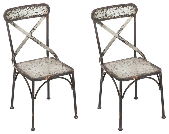 Attirant Galvanized Metal Chairs, Set Of 2   Industrial   Outdoor Dining Chairs   By  J. Thomas Products