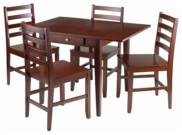 Hamilton 5 Piece Drop Leaf Dining Table With 4 Ladder Back