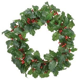 """18"""" Holly Wreath."""