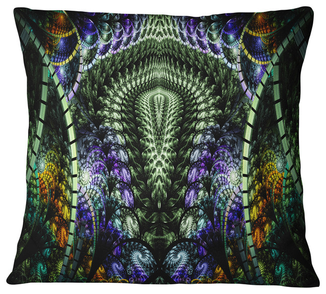 Unique Colorful Fractal Design Pattern Abstract Throw Pillow Contemporary Decorative Pillows By Design Art Usa