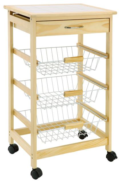 Shop Houzz | Organize It All Kitchen Cart With 3 Wire Baskets