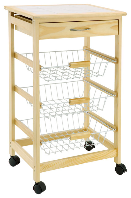 Kitchen Cart With Baskets Transitional Islands And Carts By Organize It All