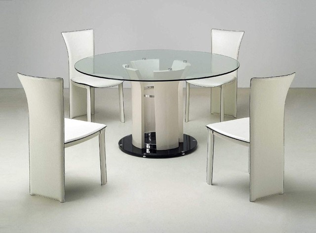 Clear Dining Room Table Refined Round Rectangular Clear Glass Top Leather Dining Room Furniture contemporary-dining-tables
