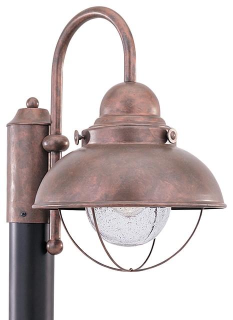 Sea Gull Sebring Led Outdoor Post Lantern, Weathered Copper.