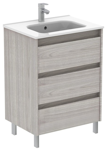 Sansa 24 Inches Modern Standing Bathroom Vanity 3 Drawer Grey With Ceramic Basin Contemporary Bathroom Vanities And Sink Consoles By Bath4life Houzz
